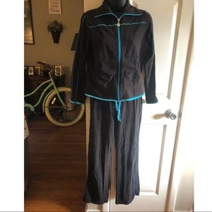 Black jumpsuit with blue piping